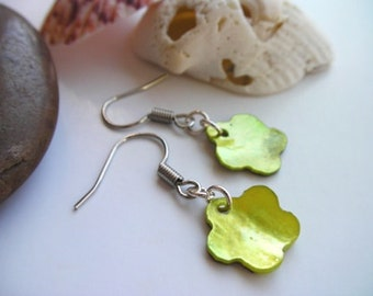 PIF Natural Green Flower Seashell Dangle Earrings - Pay It Forward, lime, moss, olive green