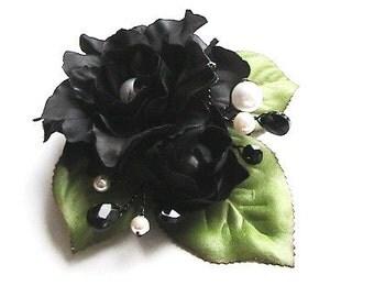 Dramatic Black Camellia Hair Clip, Wrist Corsage, Hat Clip, Black Flower Clip, Hair Accessory, Flower Hair Clip, Versatile