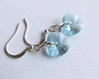 Blue Swarovski Crystal Earrings, Blue Crystal Heart Earrings, Baby Blue Earrings, Light Blue Earrings, Wedding, Bridal, Bridesmaids