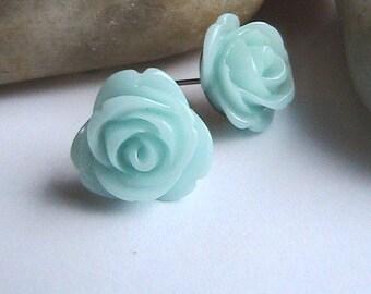 Teal Rose Post Earrings, Mint Green Flower Earrings, Blue Rose Earrings, Flower Earrings, Turquoise Earrings, Post, Studs, Clipons, vintage