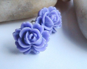 Purple Rose Post Earrings, Lilac Flower Earrings, Violet Floral Earrings, Flower Earrings, Purple Earrings, Post, Studs, Clipons, vintage