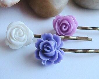 Purple Hair Pin set - 3 pieces - Cabochon Rose, Rosette Hair Clips, Purple Hair bobby Pins, Purple Hair Clips, Purple Rose Hair accessory