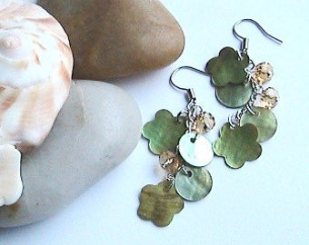 Green Seashell Dangle Earrings, Green Flower Sea Shell Earrings, Green Earrings, Green Sea Shell Earrings, Crystal Dangle Earrings