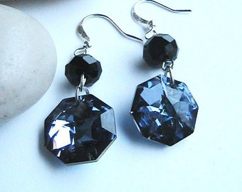 Blue Swarovski Crystal Earrings, Navy Blue Crystal Earrings, Blue Swarovski Crystal Dangle Earrings, Wedding, Bridesmaids