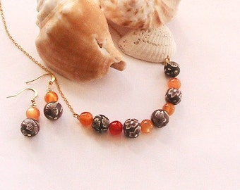 Orange polymere Clay Beaded Necklace, Orange Necklace, Cute, Summer, Adorable