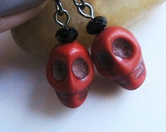 Cool Red Skull Earrings, Red Earrings, Skeleton Earrings, Skull, Bone, Skeleton, Fun, Geekery, Cool Earrings, Eccentric Earrings