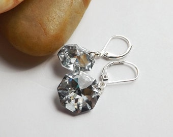 Silver Octagon Swarovski Crystal Earrings, Silver Crystal Earrings, Bridal Jewelery, Bridesmaids, Wedding, Formal