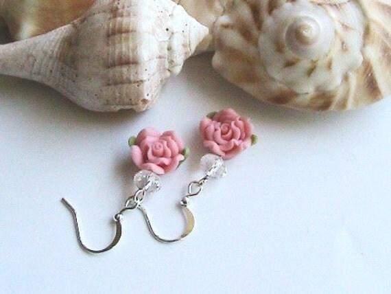 Pink Rose Earrings, Pink Rosette Earrings, Pink Polymer Clay Rose Dangle Earrings, Pink Flower Earrings, Salmon Earrings