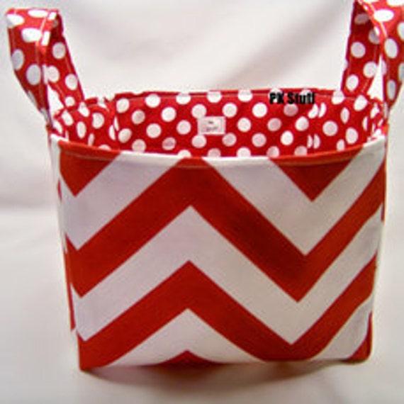 PK Fabric Basket in Chevron in Ruby