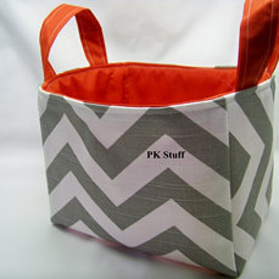 PK Fabric Basket in Gray Chevron With Red Lining - Ready To Ship