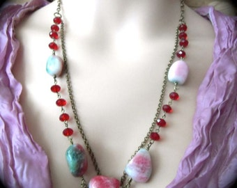 Ruby Red Necklace Chunky Bead Necklace - Bohemian Elegance Fashion Jewellery Stock Clearance