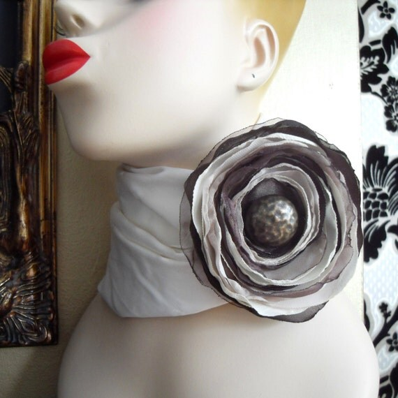 Fabric Corsage Brooch Flower Pin - Chocolate n Cream