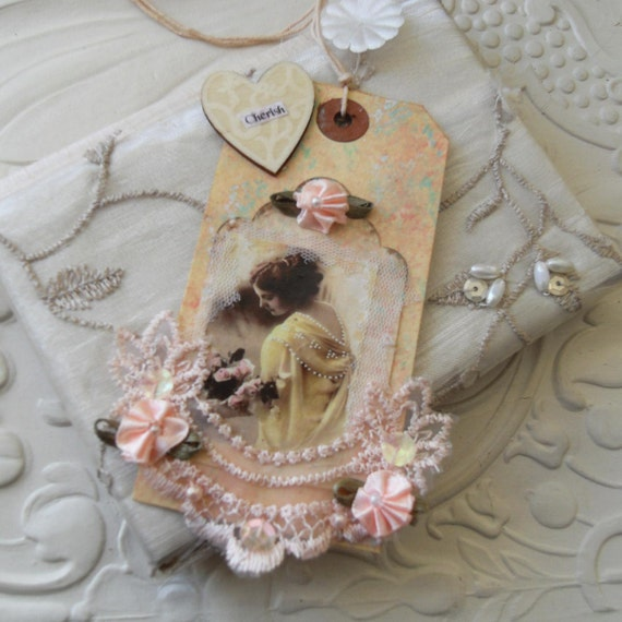 Mixed Media Collage Gift Art Tag Vintage Inspired - Cherish