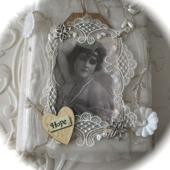 Gift Art Tag Bookmark Mixed Media Vintage Inspired - Hope
