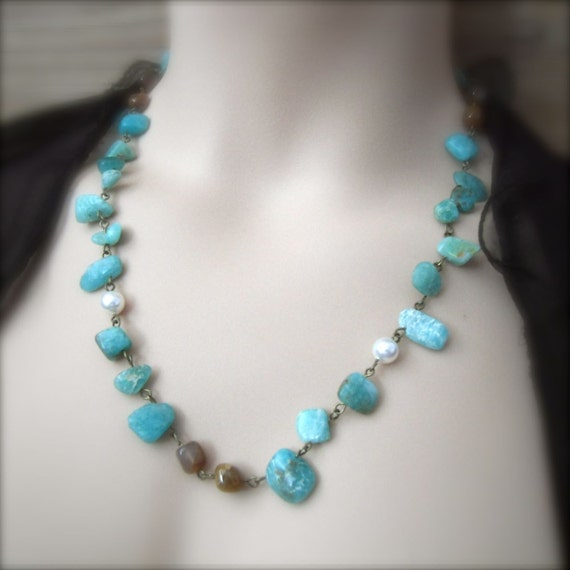 Necklace Amazonite and Jasper Gemstone Turquoise Blue and Brown - Healing Jewelry - Live With Integrity, Speak Your Truth