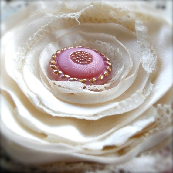 Tattered Shabby Reclaimed Fabric Corsage Brooch Pink Vintage Button - Colette Loves Paris In The Springtime