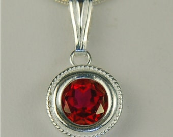 Red Topaz Necklace Sterling Silver 8mm Round 2.35ct In Rope Edge Backset Bezel Setting