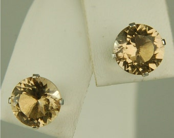 Champagne Quartz Stud Earrings Sterling Silver 8mm Round 3.35ctw