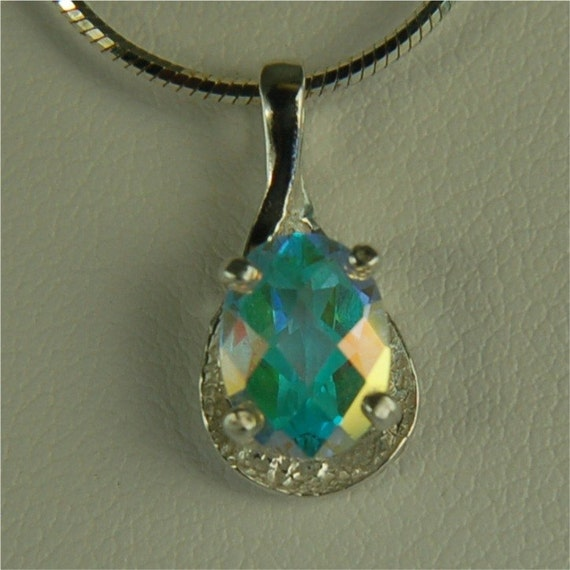 Opalescent Topaz Necklace Sterling Silver 8x6mm Oval 1.55ct Semi Textured Setting Rainbow of Colors