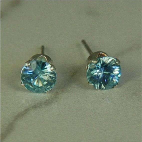 Blue Zircon Studs Sterling Silver Earrings 5mm Round 1.40ctw