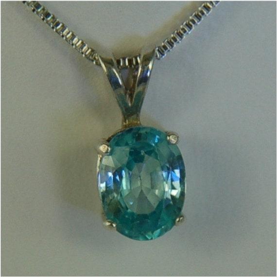 Sky Blue Topaz Necklace Sterling Silver 8x6mm Oval 1.80ct
