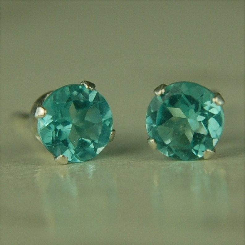Blue Apatite Stud Earrings Sterling Silver 5mm Round By