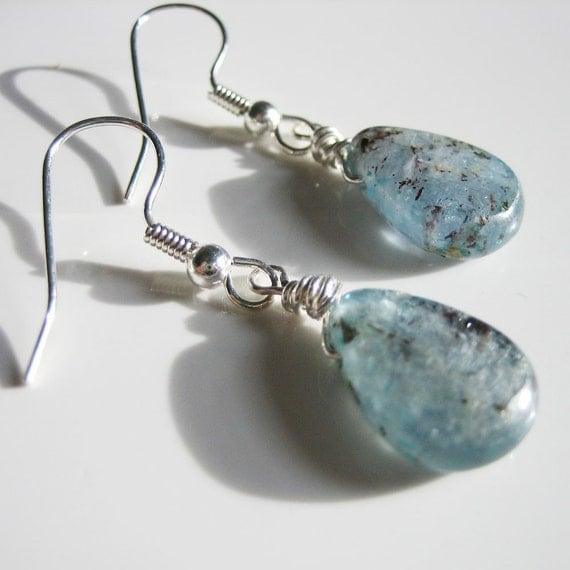 Arctic Earrings - Blue Kyanite and Silver
