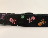 Awesome Multi Colored Skulls and Crossbones Dog Collar