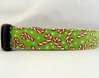Awesome Candy Canes on Green Dog Collar