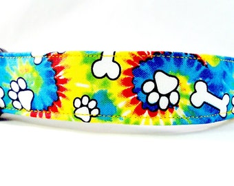 Groovy Tie Dye Dog Collar Puppy Paws and Bones Yellow Blue Red Green