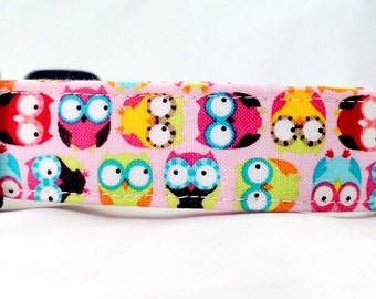 Awesome Hoot Owls on Pink Dog Collar