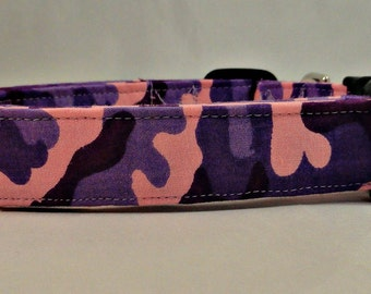 Awesome Bright Pink and Purple Camo Dog Collar Camouflage