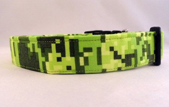Awesome Bright Green Digital Camo Dog Collar