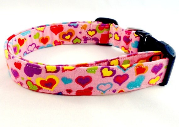 Awesome Colorful Hearts All Over a Bright Pink Dog Collar