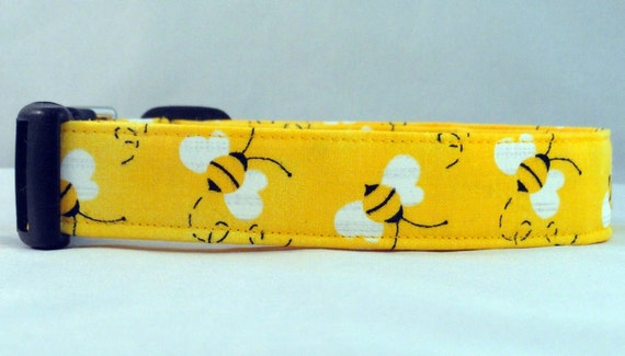 Buzzing Bumble Bee Bright Yellow Dog Collar Honeybee
