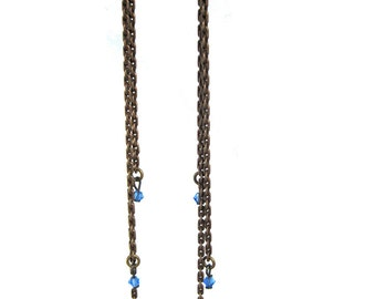 Falling Stars Earrings - Bright Blue- with vintage beads and oxidized brass chains