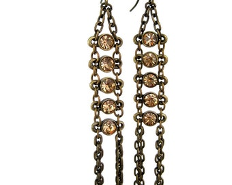 Crystal Ladder Earrings - with smoky beads and brass
