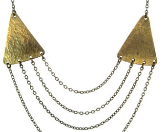 Surging Tide Necklace -  textured brass triangles  and vintage chains