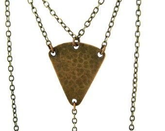 Between Honey and Pain Necklace - textured brass triangles & chain