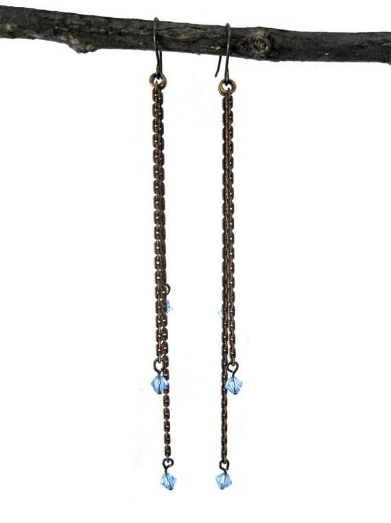 Falling Stars Earrings - vintage light blue beads & oxidized brass chain