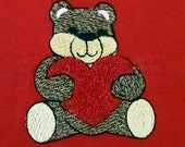 Teddy Bear with Heart Embroidered Design