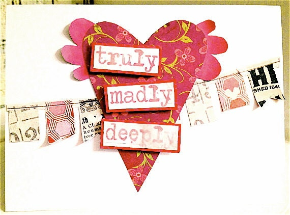 Valentine . TRULY Madly Deeply CARD . Red I'm in a TREASURY Pink Purple Flowers Banner Heart Wings I Love You Valentine 1189