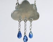 Cloud Necklace - Kyanite Blue Gemstone Raindrops - If Kisses Were Raindrops I'd Send You A Storm - SilkstoneDesigns