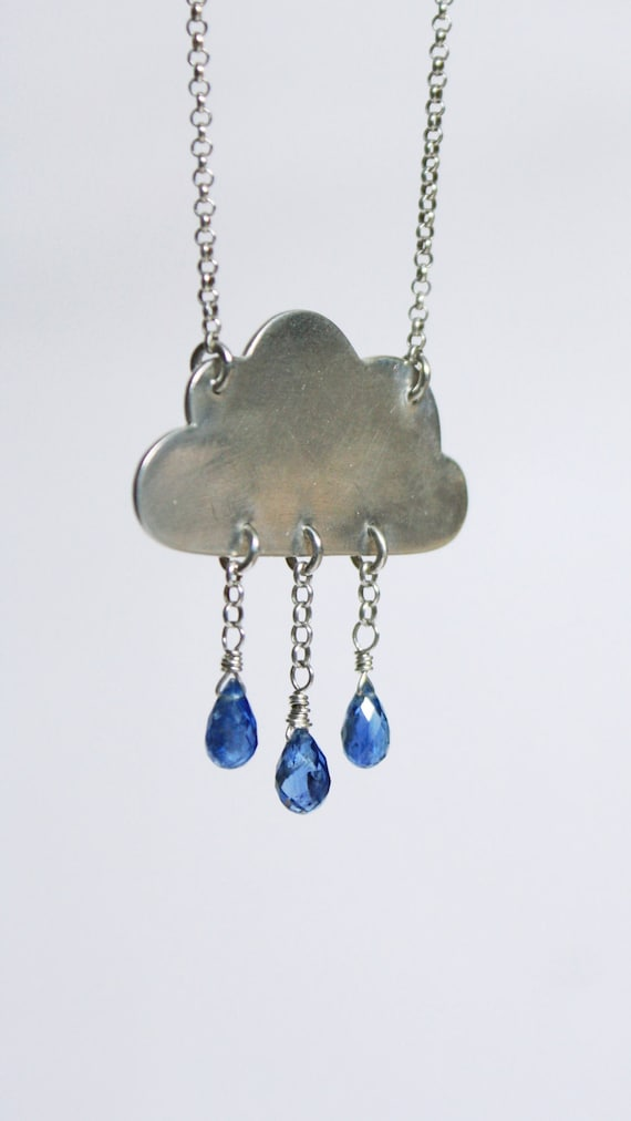 Reserved - Cloud Necklace - Kyanite Blue Gemstone Raindrops - If Kisses Were Raindrops I'd Send You A Storm