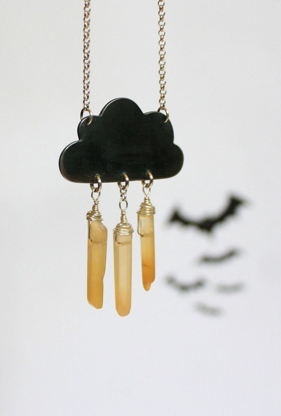 Thunder Storm Cloud Necklace - Yellow Agate Lightning Bolts- Eco Friendly Recycled Silver