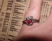 Vintage antique bronze cherry ring
