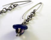 Titanium Glass and Smokey Quartz Earrings