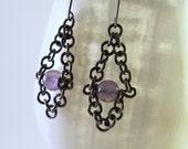 Titanium Chain and Amethyst Earrings