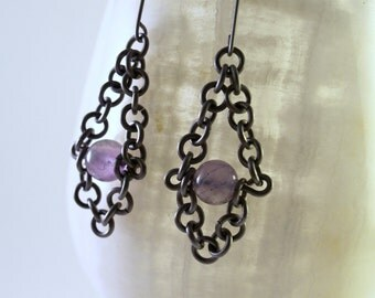Titanium Chain and Amethyst Earrings