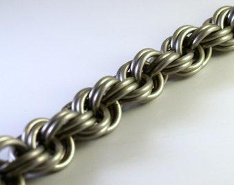 Titanium Double Spiral Chainmaille Bracelet XXL